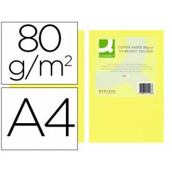 Papel color Q-connect tamaño A4 80g/m2 pack 500 hojas Amarillo intenso