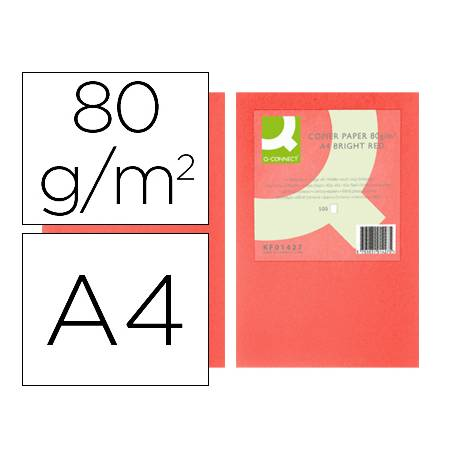 Papel color Q-connect tamaño A4 80g/m2 pack 500 hojas Rojo intenso