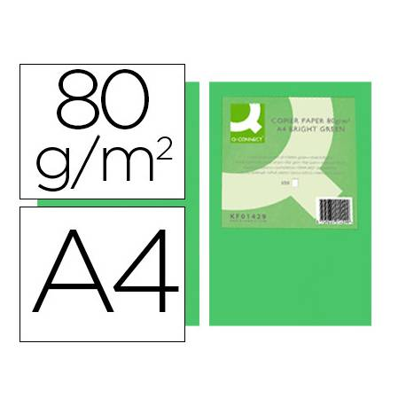 Papel color Q-connect tamaño A4 80g/m2 pack 500 hojas Verde intenso