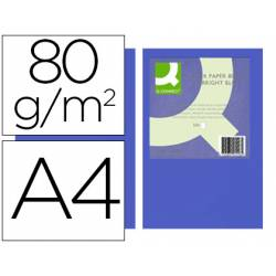 Papel color Q-connect tamaño A4 80g/m2 pack 500 hojas Azul intenso
