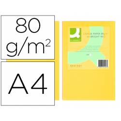 Papel color Q-connect tamaño A4 80g/m2 pack 500 hojas Amarillo