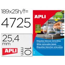 Etiqueta adhesivas marca Apli 10198 tamaño 25,4x10 mm removible caja 25 hojas