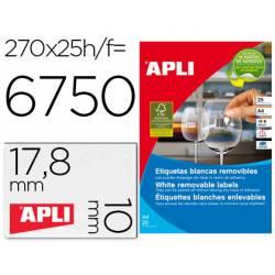Etiqueta adhesivas marca Apli 10197 tamaño 17,8x10 mm removible caja 25 hojas