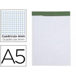 Bloc de notas Din A5 encolado marca Liderpapel cuadricula 4 mm 80 hojas