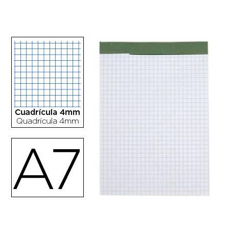 Bloc de notas Din A7 encolado marca Liderpapel cuadricula 4 mm