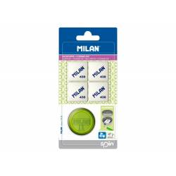 SACAPUNTAS MILAN SPIN PLASTICO 1 USO + 4 GOMAS 430
