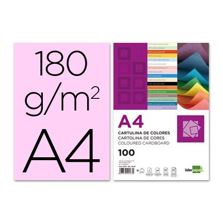 Cartulina Liderpapel color rosa a4 180 g/m2