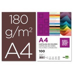 Cartulina Liderpapel color marron a4 180 g/m2
