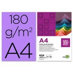 Cartulina Liderpapel color lila a4 180 g/m2