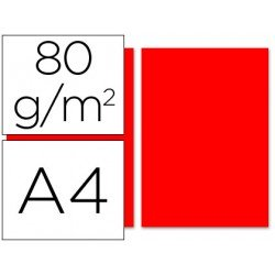 Papel color Liderpapel color rojo A4 80g/m2 100 hojas