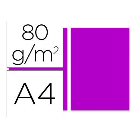 Papel color Liderpapel color fucsia A4 80g/m2 100 hojas