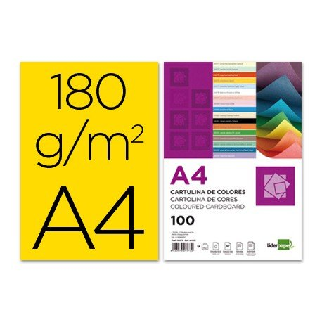 Cartulina Liderpapel color amarillo a4 180 g/m2