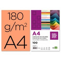 Cartulina Liderpapel color salmon a4 180 g/m2