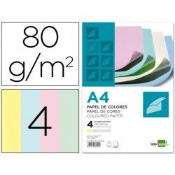 Papel color Liderpapel tamaño A4 80 g/m2 pack 100 hojas Colores Surtidos
