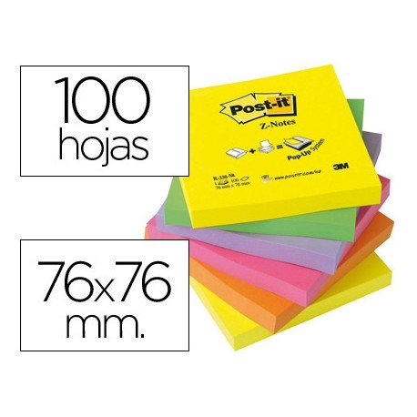 Bloc de notas adhesivas Z-Notes Post-it ®. Colores surtidos