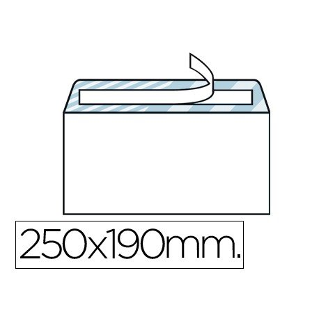 Sobre N.13 Liderpapel, blanco cuarto prolongado 190x250mm tira de silicona caja de 250 unidades.