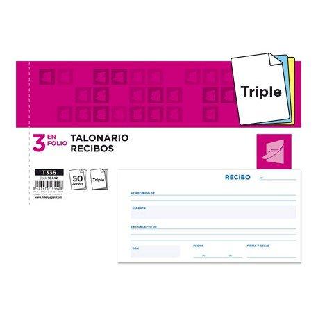 Talonario Recibos 3 folio Liderpapel