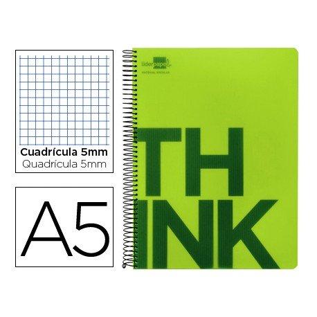 Bloc Din A5 Liderpapel serie Think cuadricula de 5 mm verde