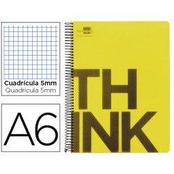 Bloc Din A6 Liderpapel serie Think cuadricula de 5 mm amarillo