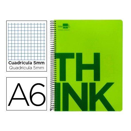 Bloc Din A6 Liderpapel serie Think cuadricula de 5 mm verde