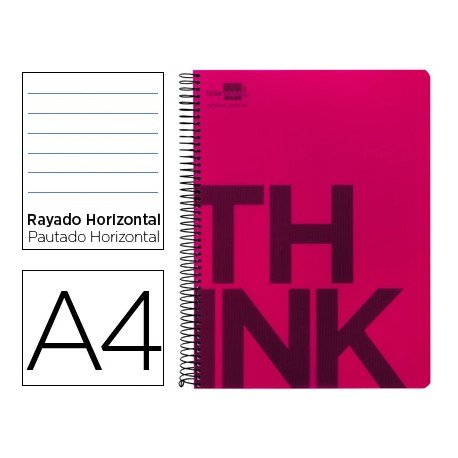 Bloc Din A4 Liderpapel serie Think rayado horizontal rojo
