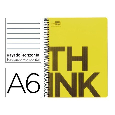 Bloc Din A6 Liderpapel serie Think rayado horizontal amarillo