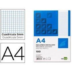 Bloc / Recambio Din A4 encolado Liderpapel color azul