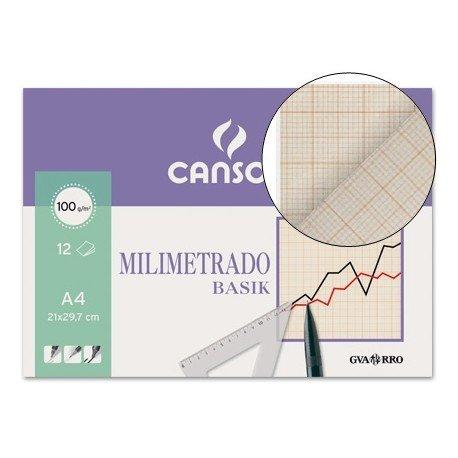 Papel milimetrado Canson 12 hojas de papel con lineas marron