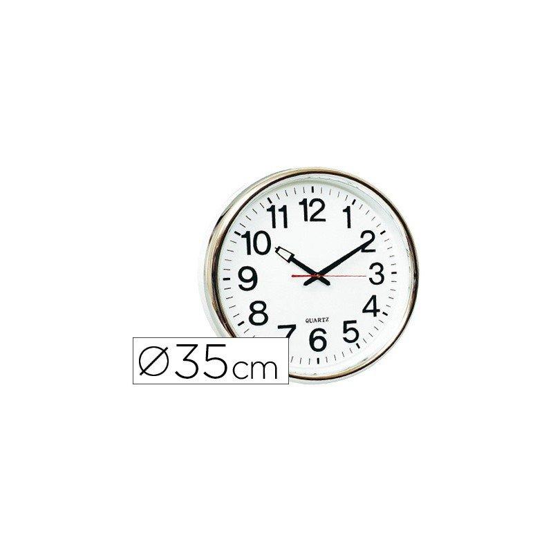 Reloj de pared plastico 38 cm marco color plateado (22368)
