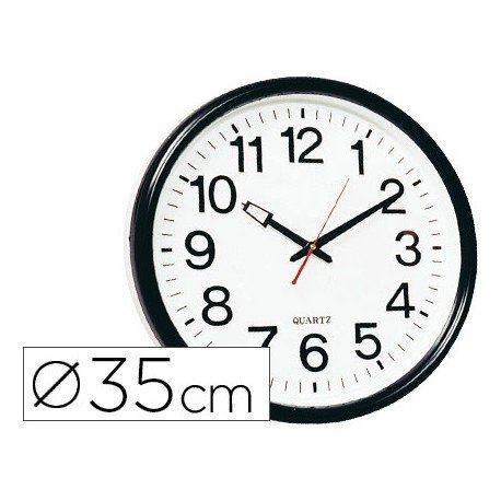 Reloj de pared plastico 38 cm marco color negro