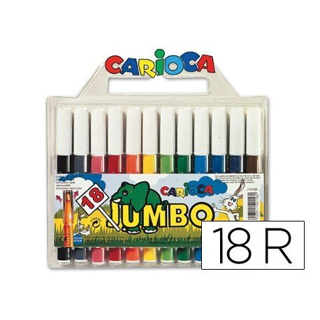 Rotulador Carioca Jumbo grueso lavable caja 18 rotuladores