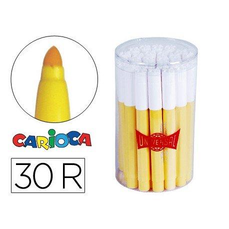 Rotulador Carioca Jumbo grueso caja 30 rotuladores amarillos