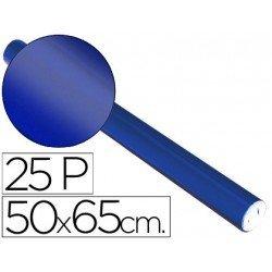 Papel metalizado Sadipal rollo 25 pliegos azul 65g/m2 medidas 50x16,25 m