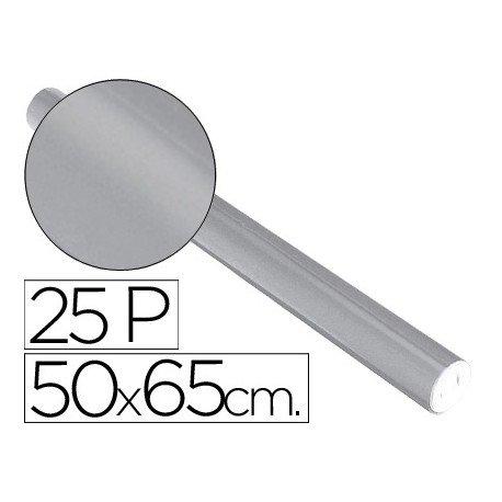 Papel metalizado Sadipal rollo 25 pliegos plata 65g/m2 medidas 50x16,25 m