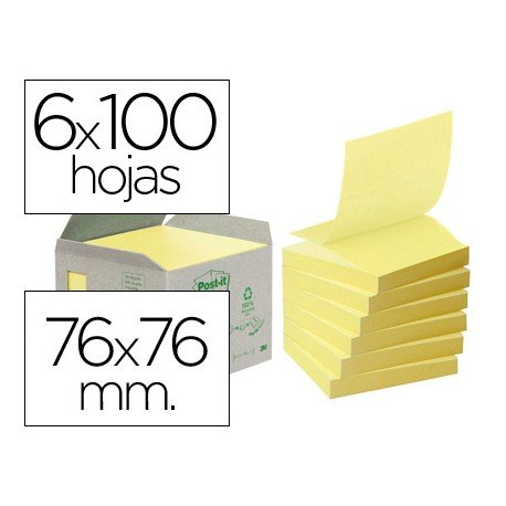 Post-it ® Bloc de notas adhesivas recicladas quita y pon 76x76 mm