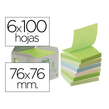 Post-it ® Bloc de notas adhesivas recicladas línea verde quita y pon 76x76 mm