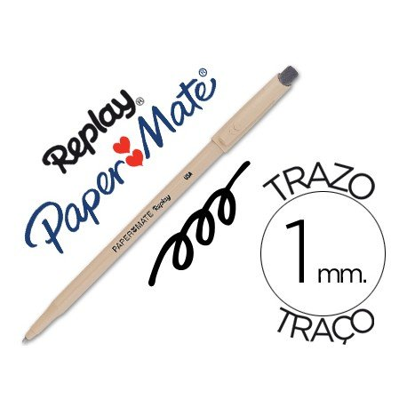Boligrafo Borrable Paper mate Replay III con goma incorporada color negro 1 mm