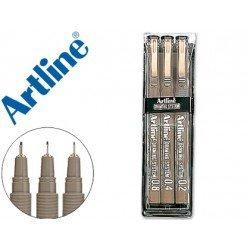 Rotulador Artline calibrado micrometrico negro estuche de 3 unidades
