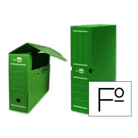 Cajas de archivo definitivo Liderpapel verde folio