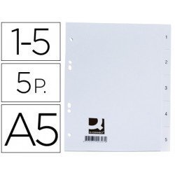 Separadores de plastico Q-Connect numericos 6 taladros din A5