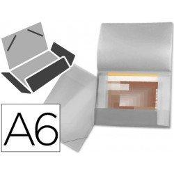Carpeta lomo flexible con solapas marca Liderpapel Din A6 transparente
