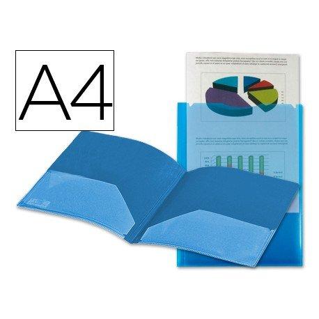 Carpeta dossier con doble bolsa Liderpapel Din A4 color azul