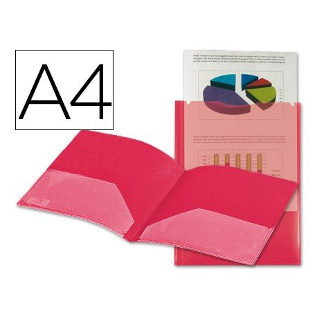 Carpeta dossier con doble bolsa Liderpapel Din A4 color rojo