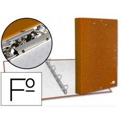Carpeta carton forrado 4 anillas gomas Liderpapel Paper Coat lomo 40 mm folio naranja