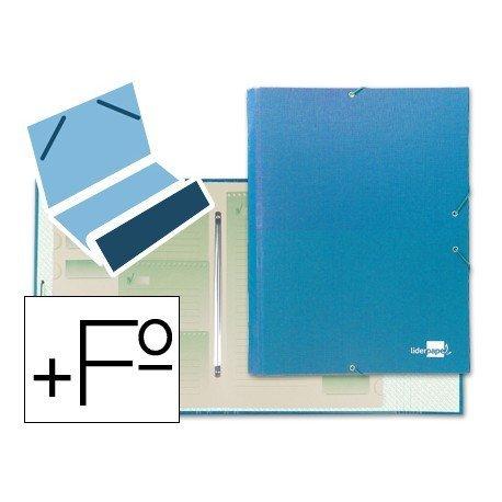 Carpeta clasificadora carton gomas Paper Coat Liderpapel celeste