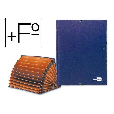 Carpeta clasificadora carton Paper Coat Liderpapel Folio azul