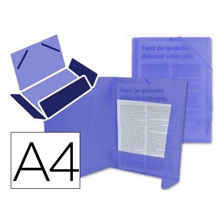 Carpeta lomo flexible con solapas Liderpapel Din A4 color azul translucido