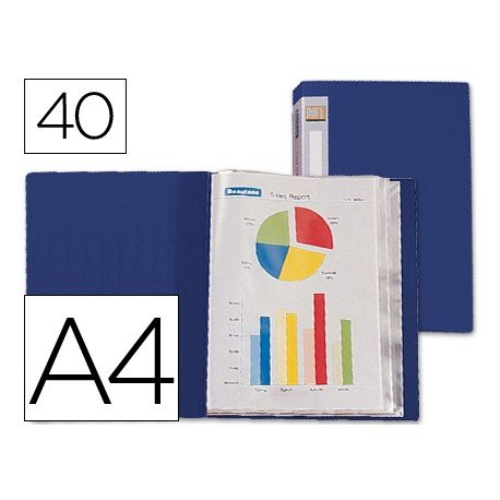 Carpeta escaparate con 40 fundas fijas Beautone azul