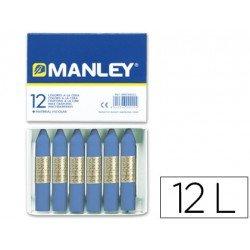 Lapices cera blanda Manley caja 12 unidades azul ultramar