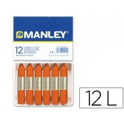 Lapices cera blanda Manley caja 12 unidades naranja